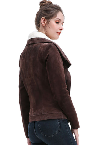 BGSD Women's Suede Leather Jacket - Short