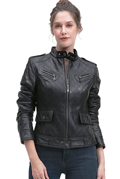 BGSD Women's Quilted New Zealand Lambskin Leather Jacket