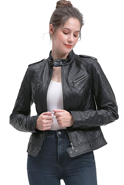 BGSD Women's Quilted New Zealand Lambskin Leather Jacket - Short