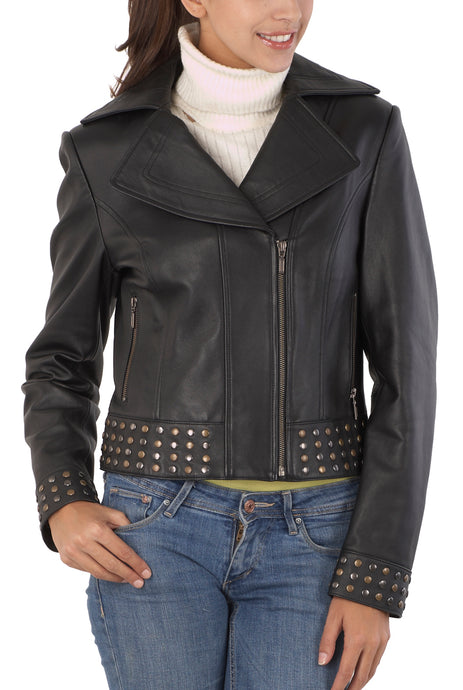 bgsd womens studded hem lambskin leather motorcycle jacket