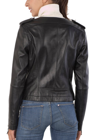 bgsd womens studded lambskin leather motorcycle jacket