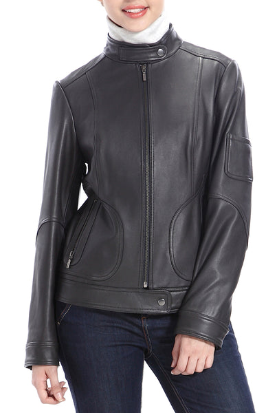 BGSD Women's Tabbed Neck Lambskin Leather Scuba Jacket - Plus