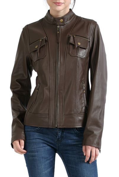 bgsd womens patch pocket lambskin leather motorcycle jacket
