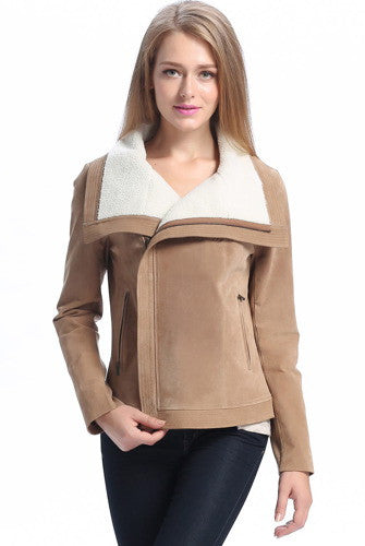 "BGSD Women's ""Callie"" Sherpa Trim Suede Leather Jacket"