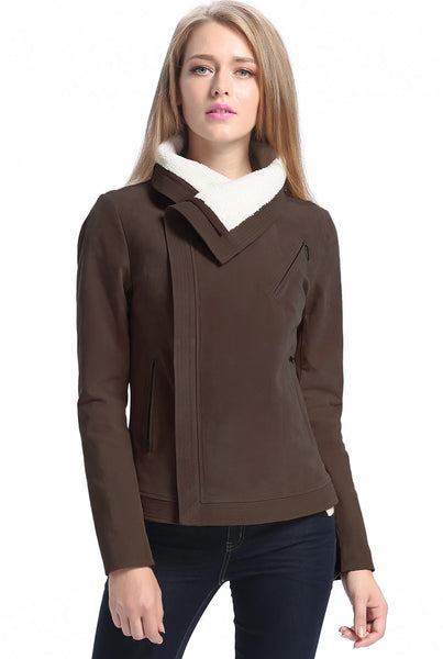"BGSD Women's ""Callie"" Sherpa Suede Leather Jacket - Plus"