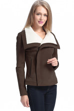 "Load image into Gallery viewer, BGSD Women's ""Callie"" Sherpa Suede Leather Jacket - Plus Short"