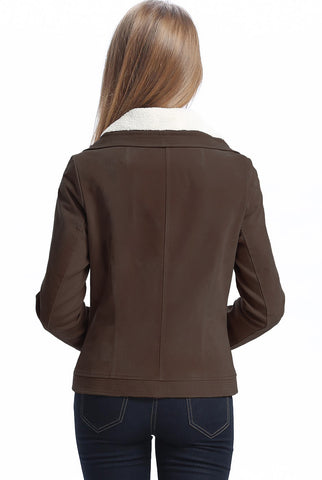 "BGSD Women's ""Callie"" Sherpa Suede Leather Jacket - Short"