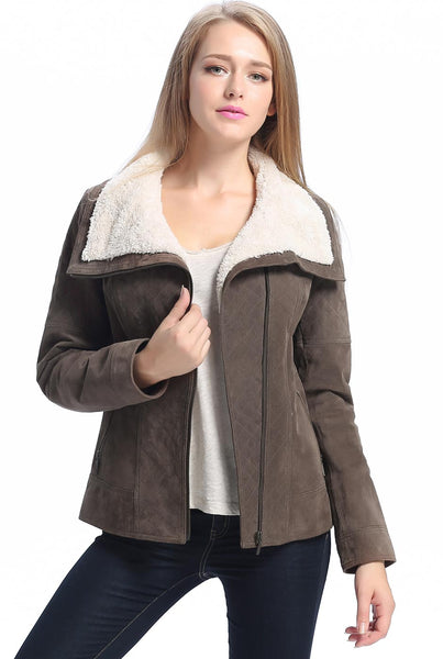"BGSD Women's ""Liza"" Quilted Sherpa Suede Leather Jacket - Plus Short"