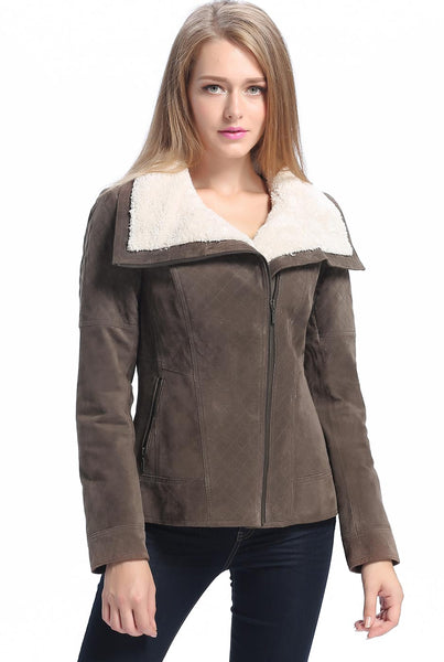 "BGSD Women's ""Liza"" Quilted Sherpa Suede Leather Jacket"