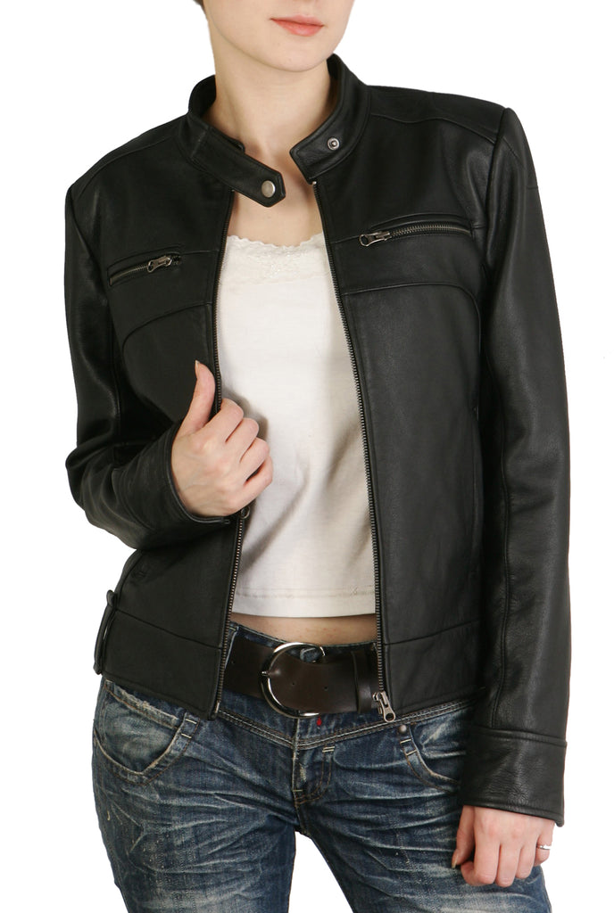 BGSD Women's Classic Cowhide Leather Motorcycle Jacket