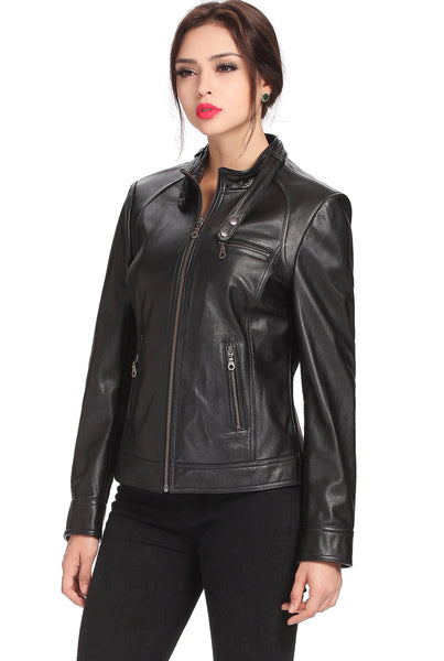 "BGSD Women's ""Julie"" Leather Moto Biker Jacket - Plus"