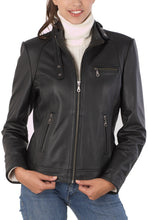 "Load image into Gallery viewer, BGSD Women's ""Julie"" Cowhide Leather Motorcycle Jacket"
