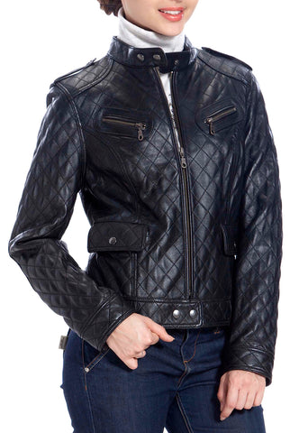 BGSD Women's Quilted Lambskin Leather Motorcycle Jacket - Petite