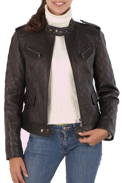 BGSD Women's Quilted Lambskin Leather Moto Biker Jacket - Plus