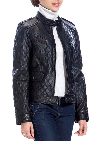 BGSD Women's Quilted Lambskin Leather Moto Biker Jacket - Petite