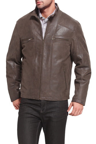 "BGSD Men's ""Ethan"" Distressed Leather Motorcycle Jacket - Big"