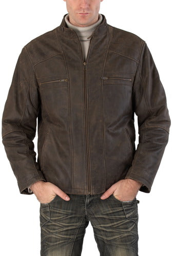 "BGSD Men's ""Ethan"" Distressed Leather Motorcycle Jacket"
