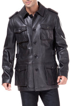 Load image into Gallery viewer, BGSD Men's Button Front Military Lambskin Leather Jacket