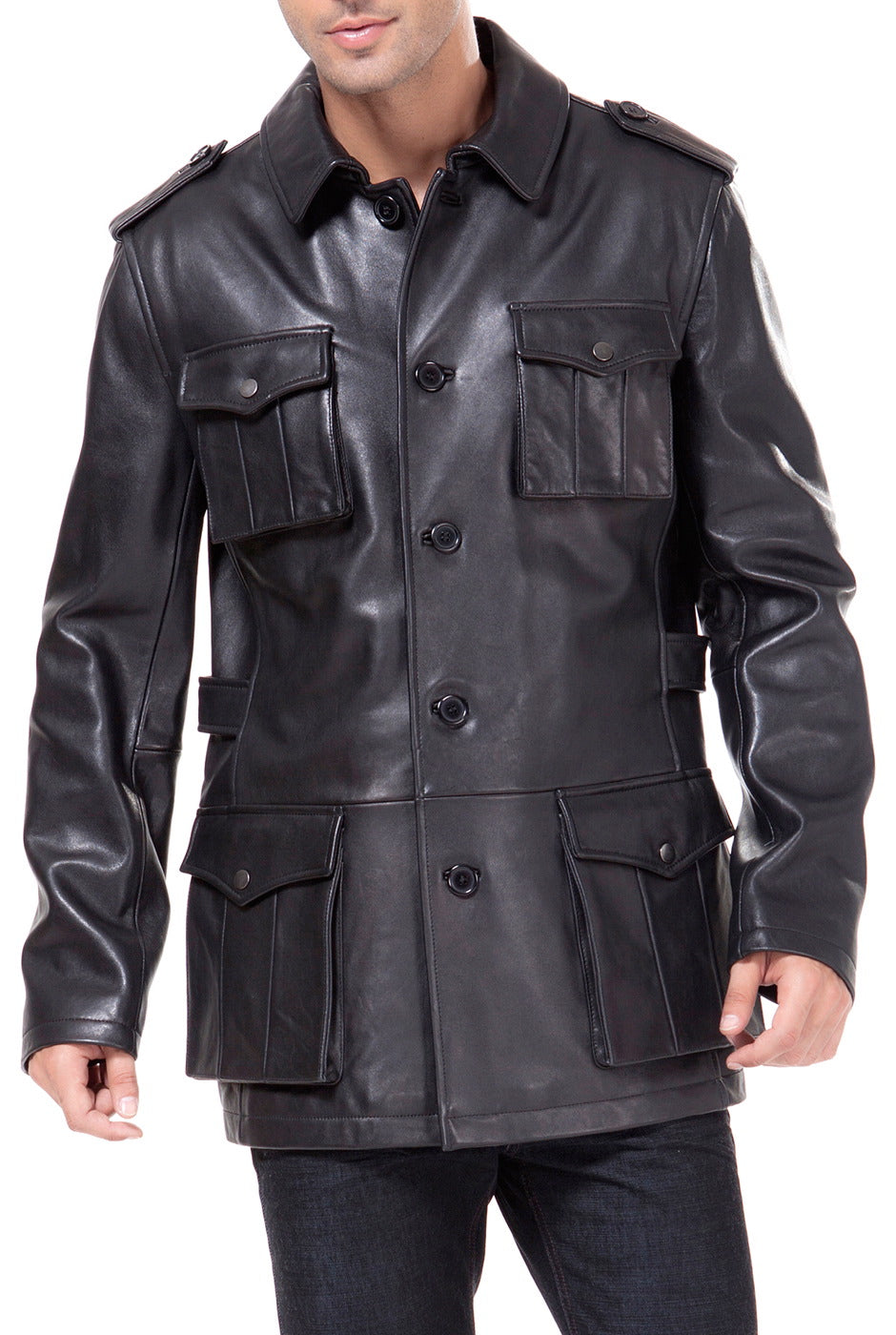 BGSD Men's Button Front Military Lambskin Leather Jacket