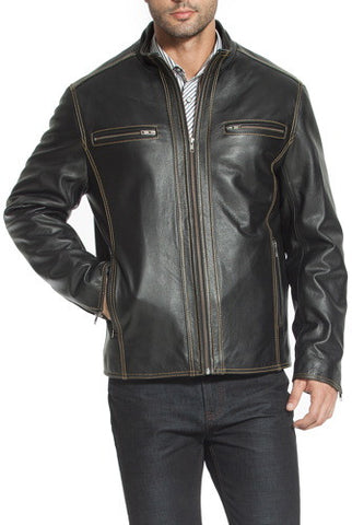 "BGSD Men's ""Brenden"" Leather Motorcycle Jacket"