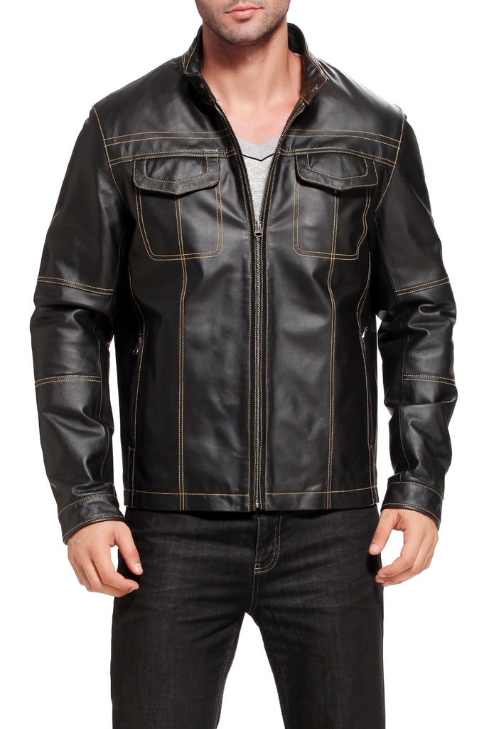 "BGSD Men's ""Zachary""  Leather Motorcycle Jacket - Tall"
