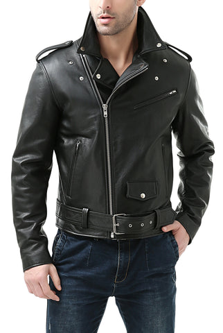 BGSD Men's Classic Cowhide Leather Motorcycle Jacket - Big
