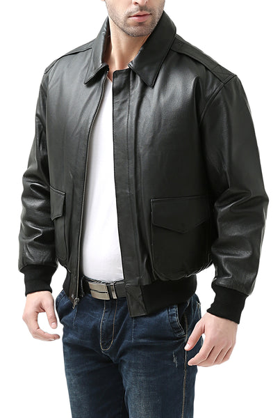 Landing Leathers Men's Air Force A2 Leather Flight Bomber Jacket (A-2) - Tall
