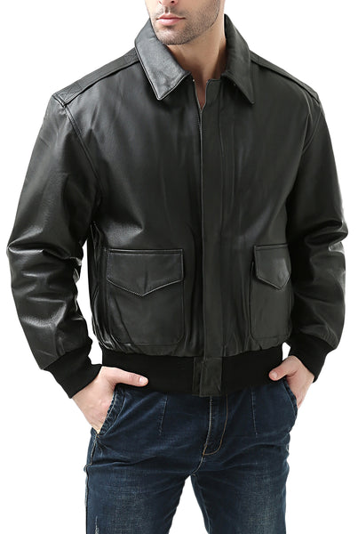 Landing Leathers Men's Air Force A2 Leather Flight Bomber Jacket (A-2) - Big