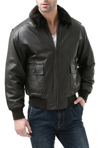 Landing Leathers Men's Navy G1 Leather Flight Bomber Jacket (G-1) - Big