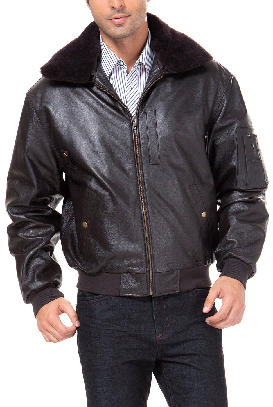 Landing Leathers Men's Air Force B-15 Cowhide Leather Flight Bomber Jacket - Tall