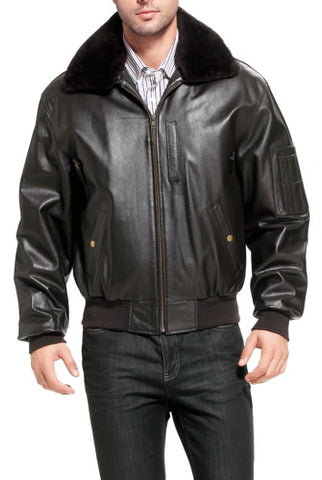 Landing Leathers Men's Air Force B-15 Cowhide Leather Flight Bomber Jacket - Big & Tall