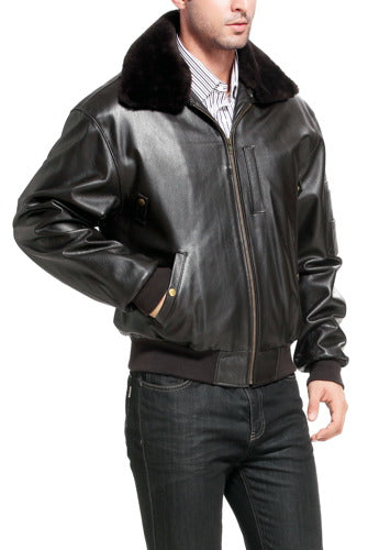 Landing Leathers Men's Air Force B-15 Cowhide Leather Flight Bomber Jacket - Big
