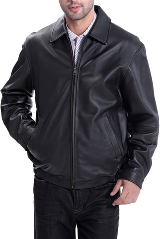 "BGSD Men's ""Derrick"" Leather Bomber Jacket - Tall"