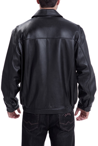 bgsd mens derrick leather bomber jacket tall