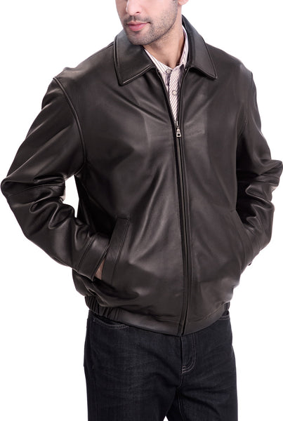 bgsd mens derrick leather bomber jacket tall 1