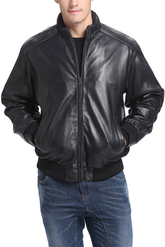 BGSD Men's Lambskin Leather Bomber Jacket - Big & Tall
