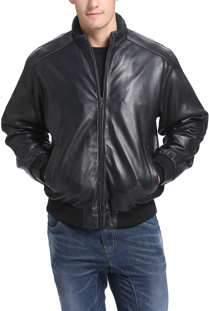 BGSD Men's Lambskin Leather Bomber Jacket - Tall