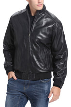 Load image into Gallery viewer, BGSD Men's City Lambskin Leather Bomber Jacket - Big & Tall