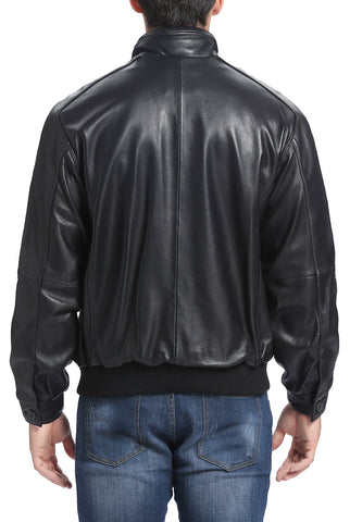 BGSD Men's Lambskin Leather Bomber Jacket