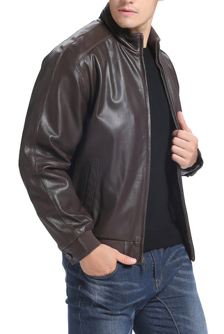 bgsd mens lambskin leather bomber jacket tall 1
