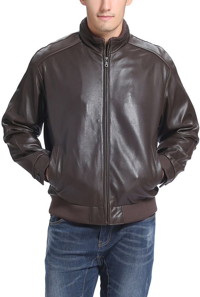 BGSD Men's Lambskin Leather Bomber Jacket - Big