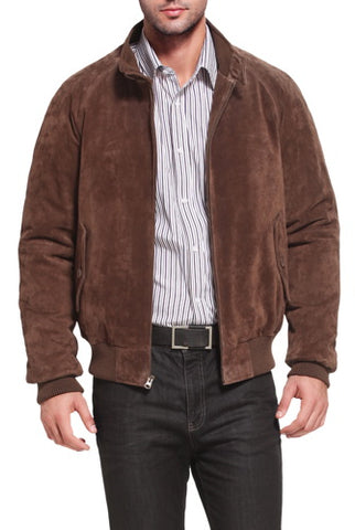 Landing Leathers Men's WWII Suede Leather Bomber Jacket - Big & Tall