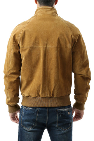 Landing Leathers Men's WWII Suede Leather Bomber Jacket - Tall
