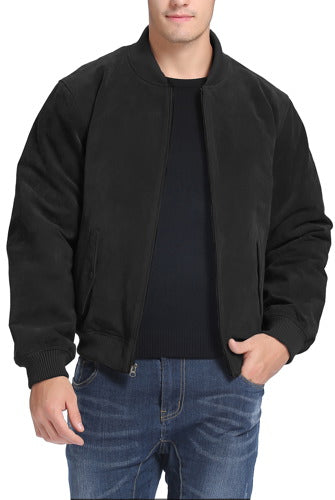 BGSD Men's Classic Suede Leather  Bomber Jacket - Tall