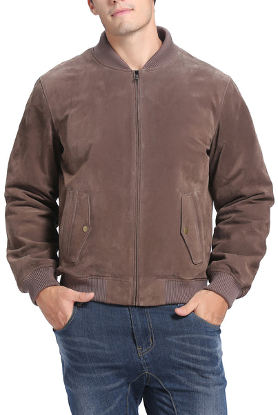 "BGSD Men's ""Wallace"" Suede Leather Bomber Jacket - Tall"