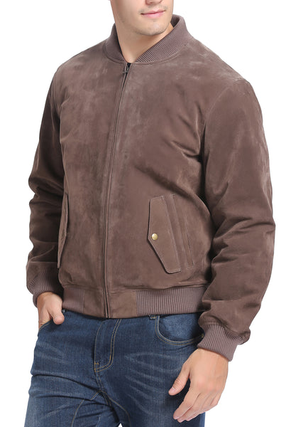 "BGSD Men's ""Wallace"" Suede Leather Bomber Jacket - Big & Tall"