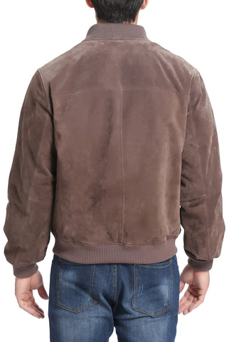 BGSD Men's  Suede Leather Bomber Jacket - Tall