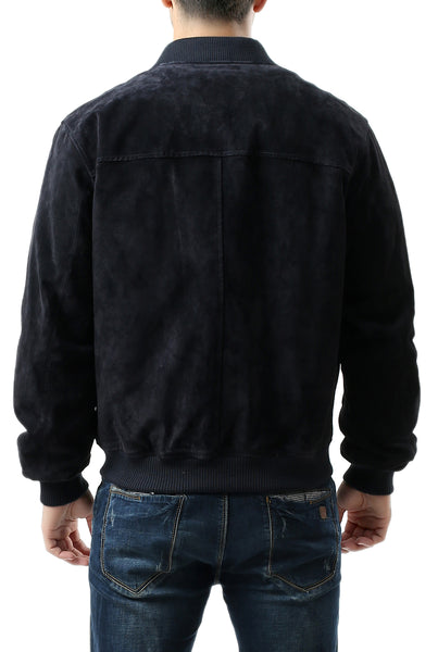 BGSD Men's Suede Leather Bomber Jacket - Big & Tall