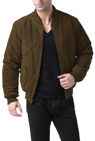 BGSD Men's Classic Suede Leather  Bomber Jacket - Big & Tall