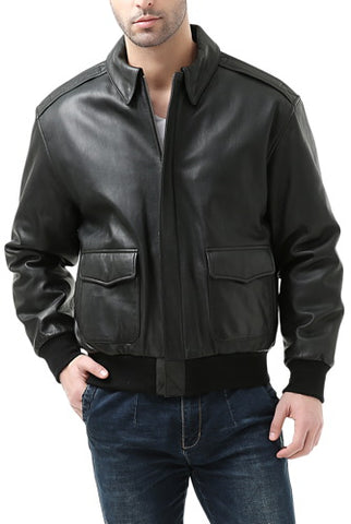 Landing Leathers Mens Premium Air Force A-2 Goatskin Leather Flight Bomber Jacket - Tall